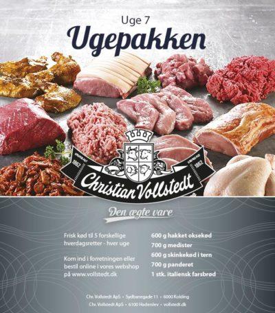 Billedet viser en kødpakke fra Vollstedt. Kødpakken består af 5 forskellige varianter