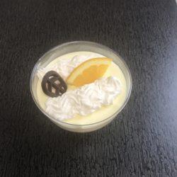 lækker citron fromage med flødeskum appelsin og chokolade